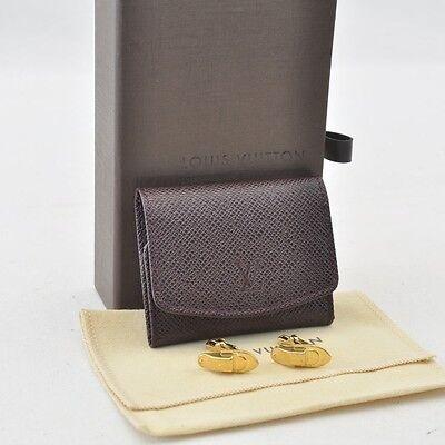 Authentic Louis Vuitton Taiga Cuff Case / Cuff Links Gold #S4076 E