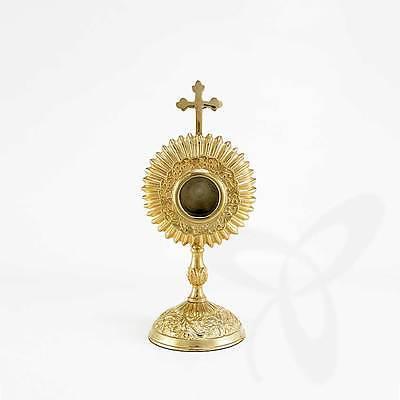 2687 Reliquiar Reliquie Monstranz für Klosterarbeit, Hausaltar vergoldet rund 17