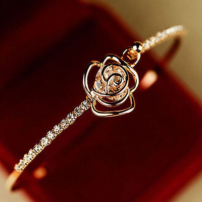 Bracelet - Elegant Women's Crystal Rose Flower Bangle Cuff Bracelet Jewelry Gold