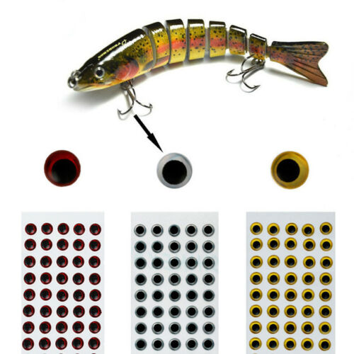 100PCS 3D Holographic Fishing Lure Eyes Luminous Stickers for Fly Tying Craft