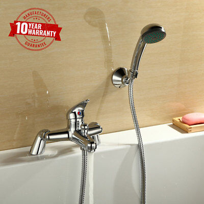 Modern Single Lever Chrome Solid Brass Bath Shower Mixer with Handheld Shower *E