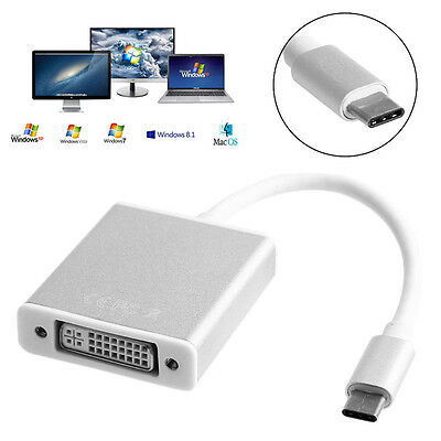 HD 1080P USB3.1 Type-C to DVI Video Converter Adapter Cable For Laptop PC 1Pc US