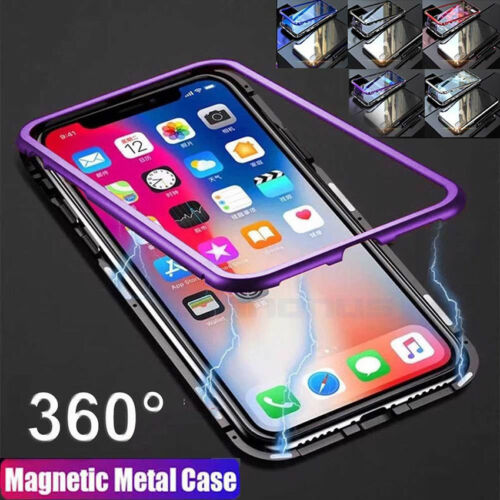 Magnetic Adsorption Metal Tempered Glass Ultra Case Cover For iPhone X/7/8 Plus