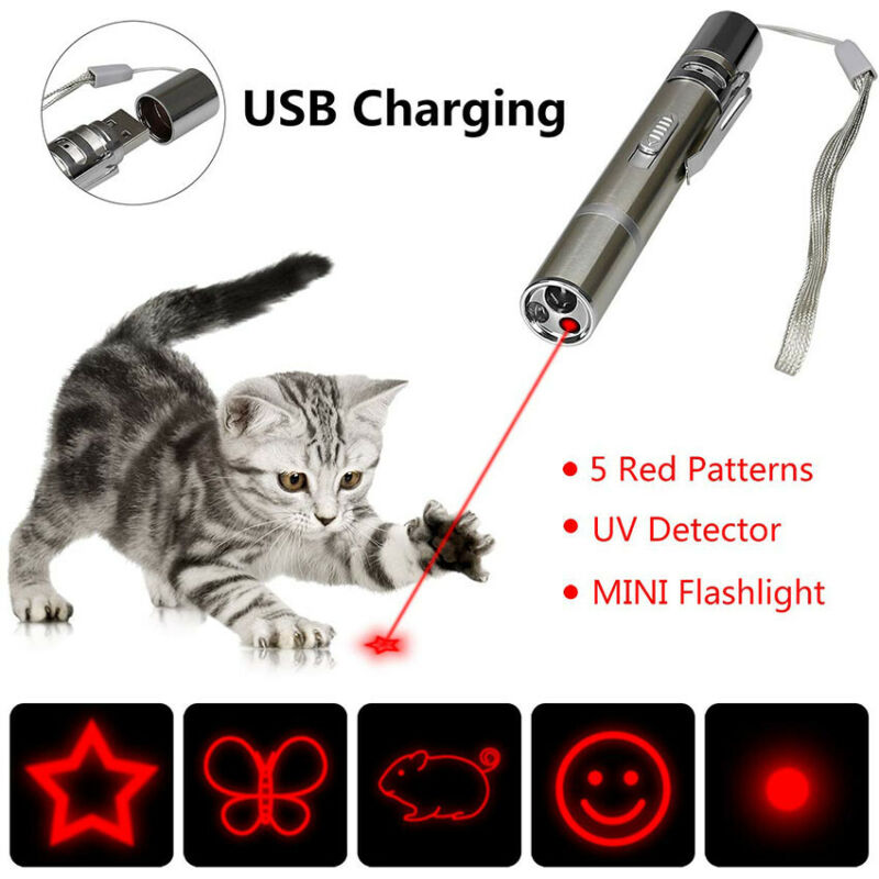 Pet Cat Kitten Toy Laser Pointer USB Charging LED Light Pen Torch Multi-pattern