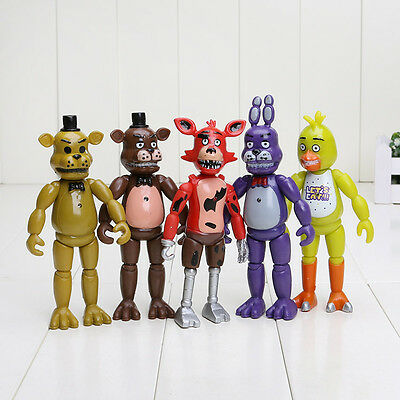 "5 x Five Nights at Freddy's FNAF Action Figures Set Bonnie Chica Foxy Bear 6"" UK"