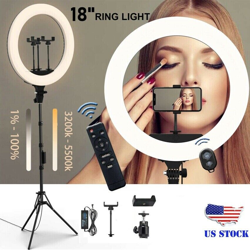 18″ LED Ring Light Kit with Stand Dimmable 5500K For Makeup Phone Camera Youtube Cameras & Photo