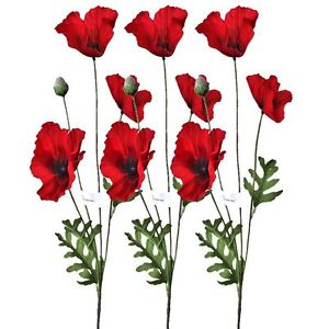 Set of 3 Artificial 62cm Flame Red Poppy Flower Stems - Remembrance Poppies