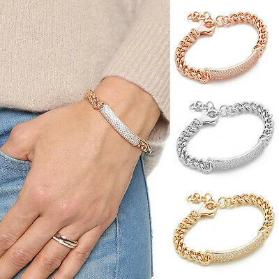 Fashion Women Crystal Rhinestone Charm Cuff Bracelet Bangle Chain Jewelry