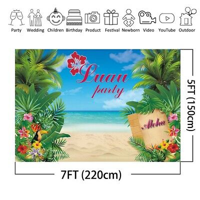 Summer Backdrop Luau Party Hawaii Aloha Birthday Party Background Beach - Luau Background