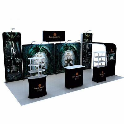Trade Show Booth Display Sets Custom 20 Pop Out Banner Stand With Counter Shelf
