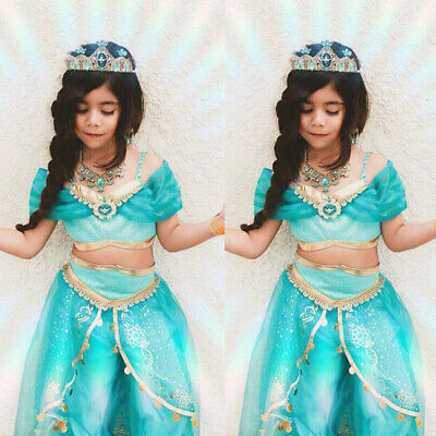 Aladdin Jasmin Prinzessin Cosplay Kinder Mädchen Kostüm Halloween