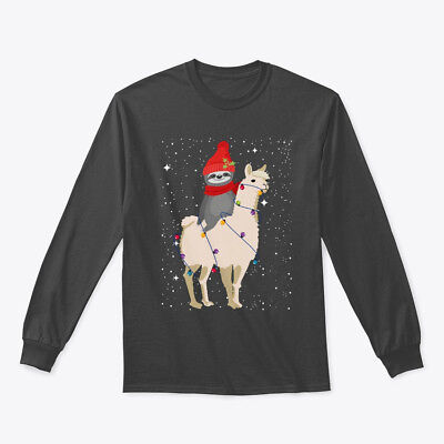 Christmas Llama (Sloth Riding Llama Funny Christmas Gildan Long Sleeve Tee)