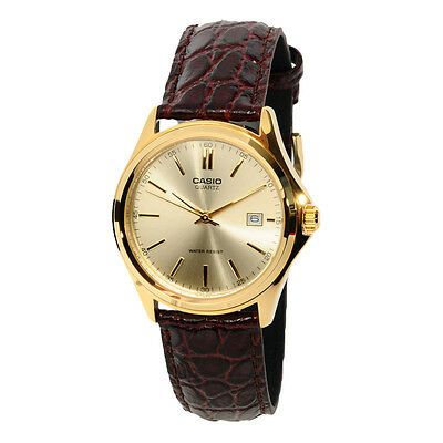 Casio Mens MTP1183Q-9A Gold Tone Casual Leather Dress Watch Quartz Classic NEW