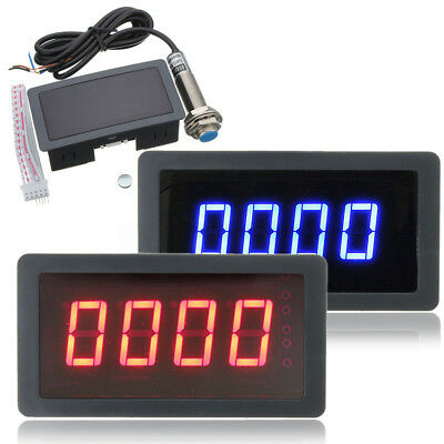 New 4 Digital Led Tachometer Rpm Speed Meter With Hall Sensor Npn Tool Easy Use