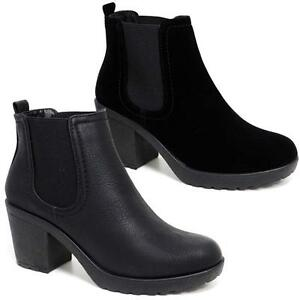 Womens-Ladies-Chunky-Block-High-Heel-Shoes-Platform-Ankle-Chelsea-Boots-Shoes