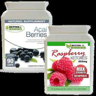 90 Raspberry Ketone 600mg 90 Acai Berry Ketones Combo Weight Loss Diet -
