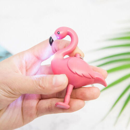 1Pc Mini Flamingo LED Flashlight Sound Keychain Key Ring Bag Hanging Pendant