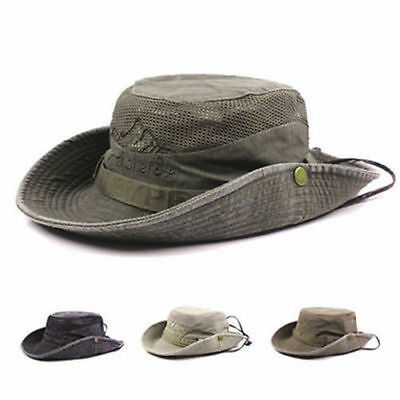 Mens Cotton Embroidery Bucket Fisherman Hat Outdoor Climbing Mesh Breathable
