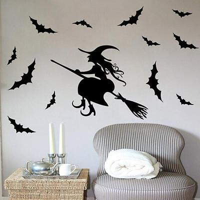 Witch on Flying Broom With Bat Vinyl Wall Decal Halloween Party Home Sticker - Halloween Bats On Wall