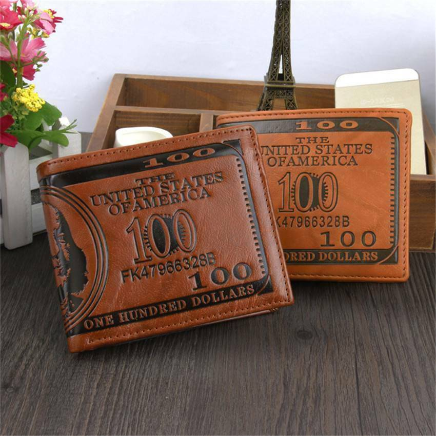 Men's US 100 Dollar Bill Leather Bifold Card Photo Holder Wallet Handbag Purse Clothing, Shoes & Accessories