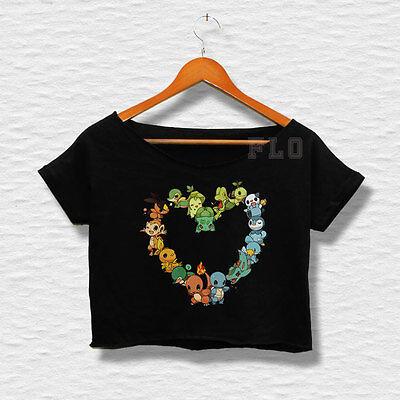 Women's Pokemon Love T-shirt Crop Top Shirt pikachu vulpix girls pinterest