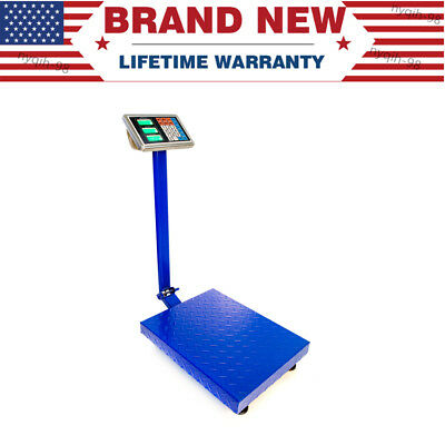Us 660lbs 300kg Lcd Digital Floor Scale Postal Shipping Platform Blue