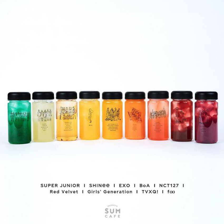 SM TOWN COEX Artium SUM Cafe Official Artist Illustration Bottle Collection