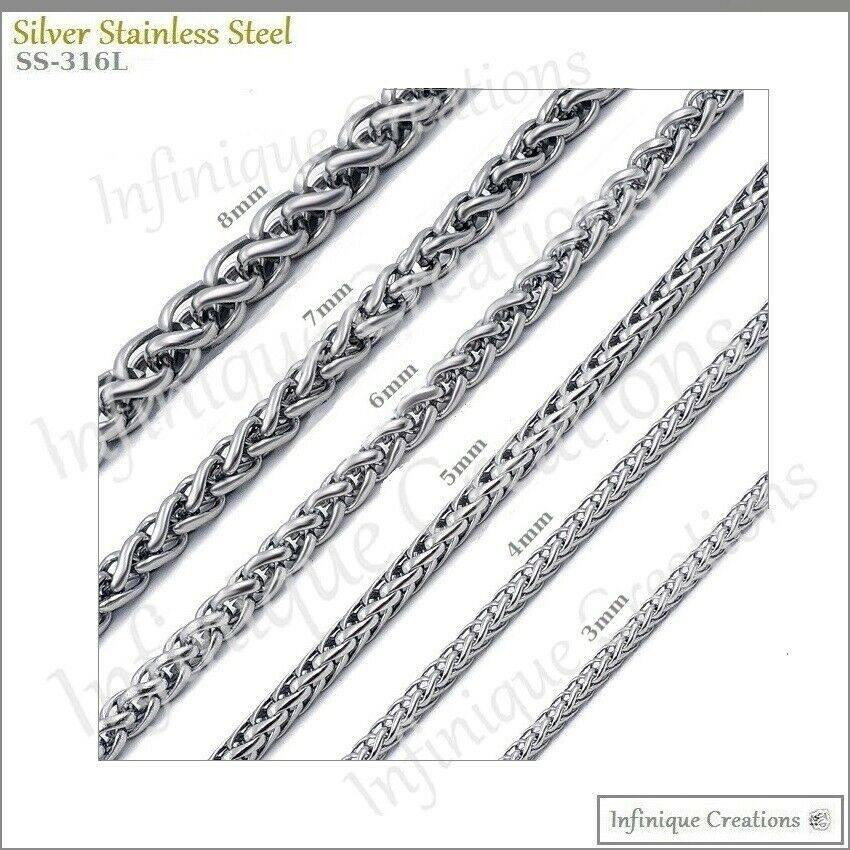 Stainless Steel Silver Wheat Braided Chain Bracelet Necklace