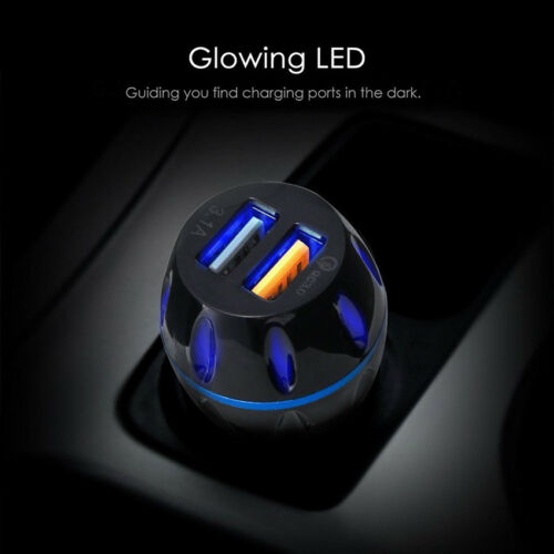 LED Dual USB Port QC3.0 Fast Car Charger Charging Adapter for iPhone Samsung HTC