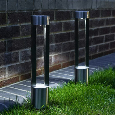 2PC Solar Power Outdoor Stainless Steel Bollard Stake Path Light | Garden Decor