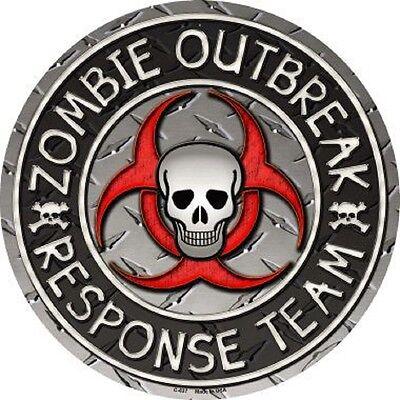 ZOMBIE OUTBREAK WALKING DEAD METAL NOVELTY ROUND CIRCULAR - Zombie Outbreak Sign