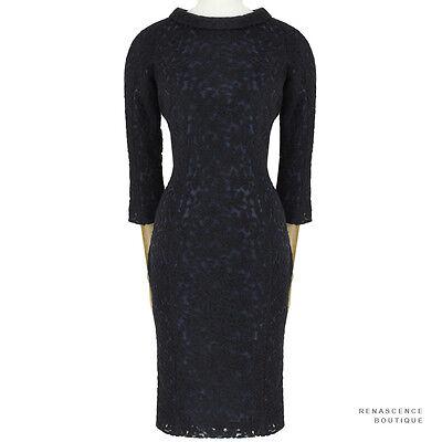 Julien David Black Midnight Blue Embroidered Tulle Overlay Pencil Dress XS UK6