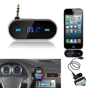 mini 3 5mm car fm transmitter adapter hand free cell phone audio music to stereo ebay. Black Bedroom Furniture Sets. Home Design Ideas
