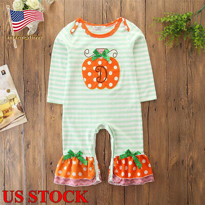 Infant Baby Pumpkin Long Sleevse Jumpsuit Bodysuits Toddler Crawl Suit Outfits](Baby Pumpkin Outfit)