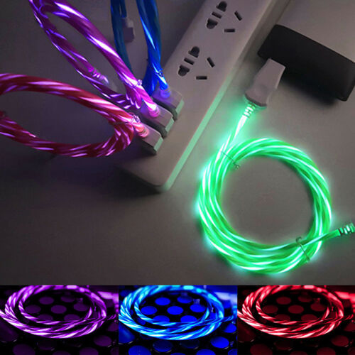 LED Visible Flowing Light Micro USB Data Sync Charger Cable For Android Type C