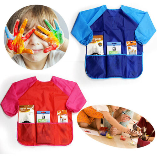Long Sleeve Apron with 3Pockets Drawing Painting Waterproof Smock Kids Craft Art
