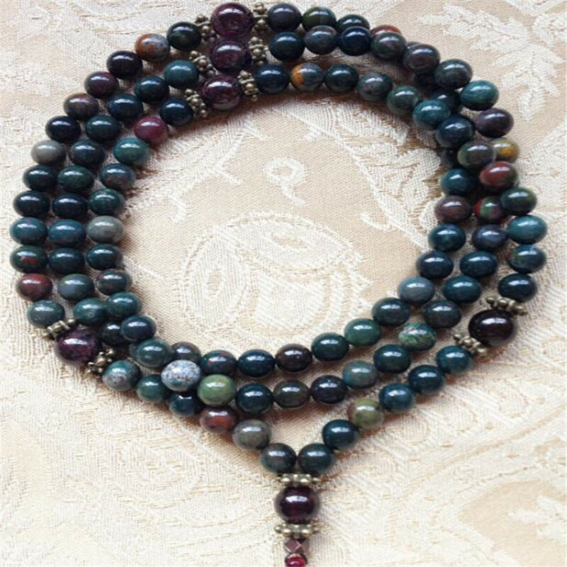 6mm India Agate Garnet Gemstone 108 Beads Mala Necklace Sutra Wristband Hot cuff