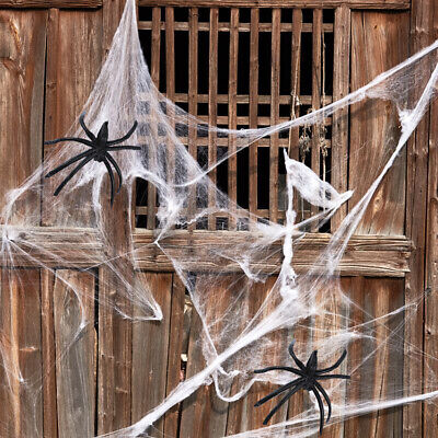 Halloween Spider Web +Spiders Cobweb Stretch Fake Cotton Trick Party Home Decor](Fake Spider Webs Halloween)