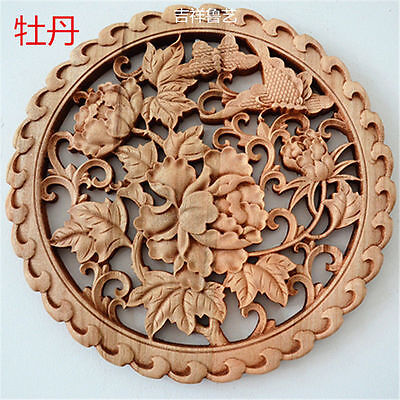 CHINESE HAND CARVED 牡丹 STATUE CAMPHOR WOOD ROUND PLATE WALL SCULPTURE