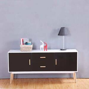 1.6M Scandinavian Retro Buffet Sideboard Cabinet White & Black Mordialloc Kingston Area Preview