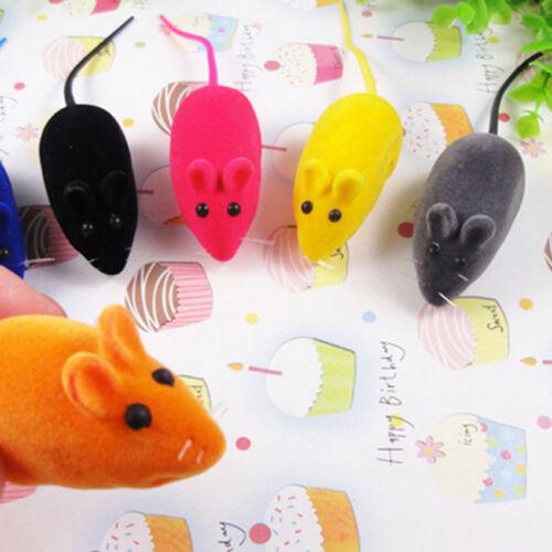 2pcs Practical Pet Toys Mouse Cat Toys Flocking Simulation Squeak Sound Rat US