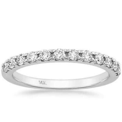 French Pave Diamond Wedding Band Ring 0.35 Ct Round 14K White Gold Anniversary Pave Diamond Anniversary Band