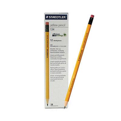 New Staedtler 134-2b Yellow Pencil With Eraser Tip - 1 Dozen 12 Pcs 2b