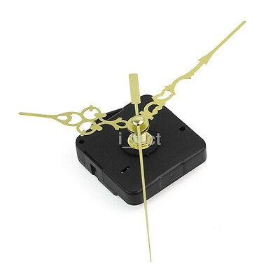 Quartz Clock Movement Mechanism short Spindle Gold Metal Hand Battery Powered CA