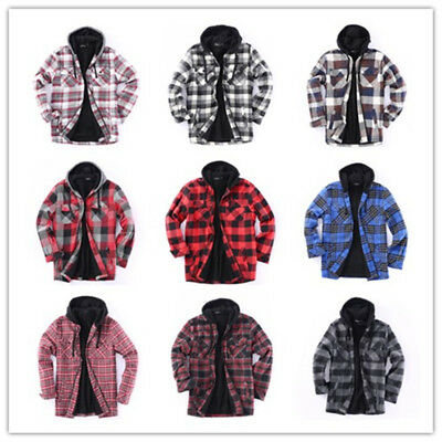 Flannel Jacket Plaid Jacket Hooded Zip Sherpa Lined Heavy Fleece Golden Tree