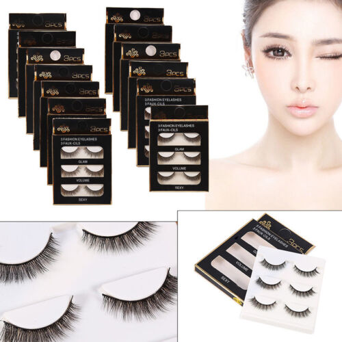 False Eyelashes 3D Natural Fake Eye Lashes Makeup Thick Long Cross Curl 14 Types
