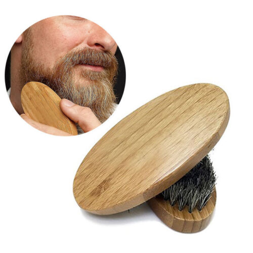 Men Natural Boar Hair Bristle Beard Mustache Brush Palm Soft Round Wood Handle