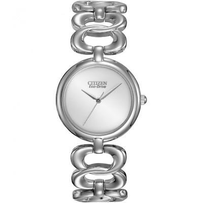 NEW Citizen Eco-Drive EM0220-53A Women's Dress Stainless Steel Silver Dial Watch
