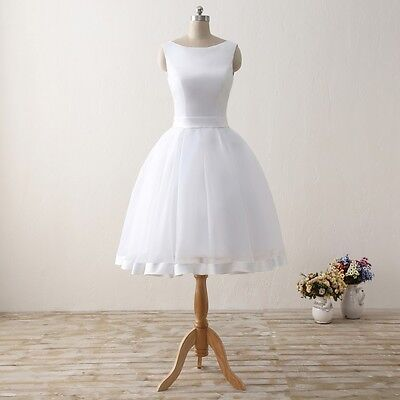 Short White/Ivory Beach Wedding Dresses Formal Cheap Tulle Satin Bow Bridal Gown - Cheap Tulle