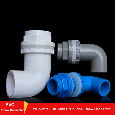 PVC ID 20~50mm Fish Tank Drain Pipe Elbow Connector Water Tank Joint Fittings